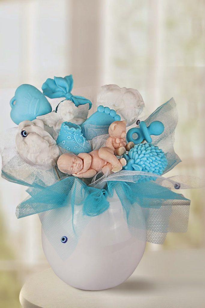 mavi sabun buketi