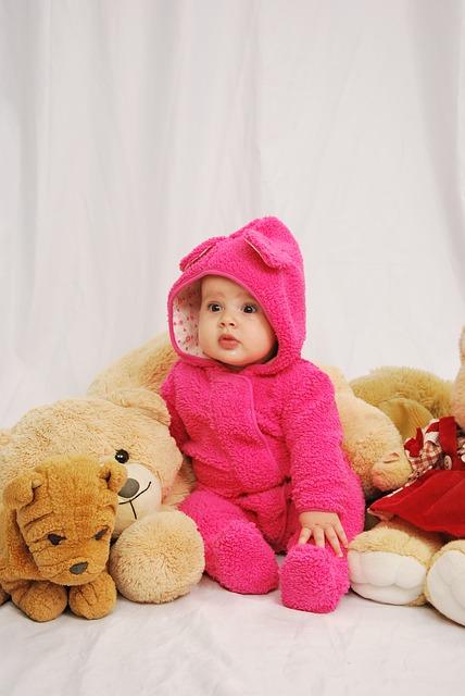 ayıcık ve bebek, pembe, bebek