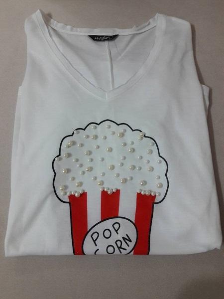 popcorn yazılı t-shirt, incili beyaz tshirt, zafoni.com