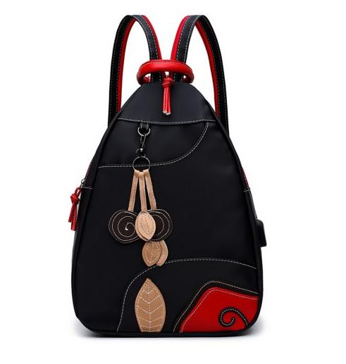 kırmızı siyah detaylı sırt çantası,