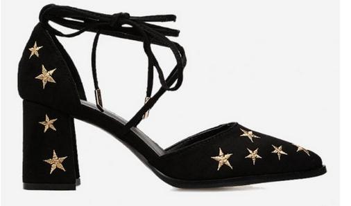 yıldızlı topuklu ayakkabı