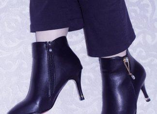 yandan fermuarlı topuklu bootie