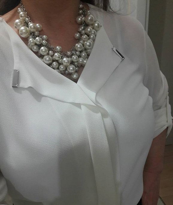 beyaz bluz, büyük beden beyaz bluz, şık beyaz bluz