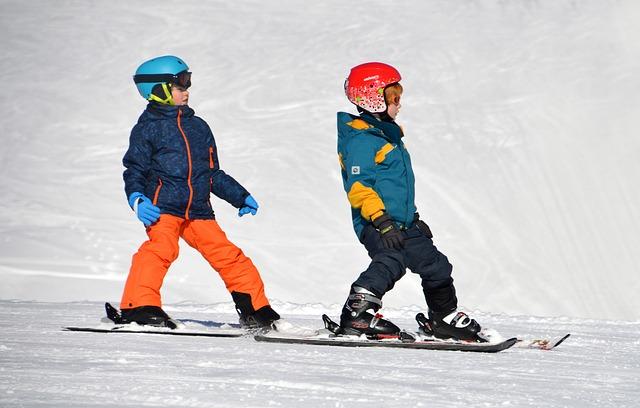 kış, kar, çocuklar, kayak