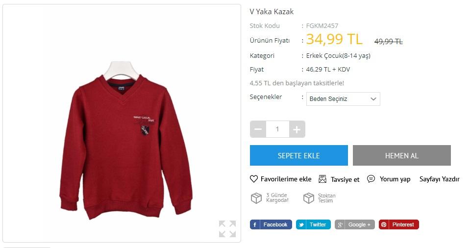 erkek çocuk kırmızı v yaka kazak