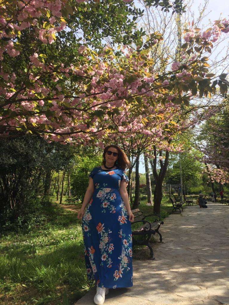 mavi çiçekli elbise, uzun mavi elbise