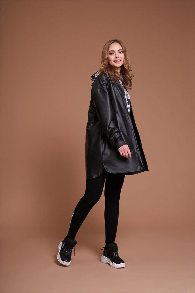 Mizalle Deri Görünümlü Tunik Gömlek (Siyah) - Genç Kadın Giyim