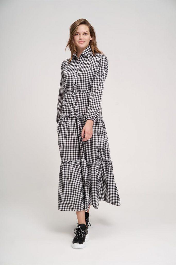 Mizalle Fırfır Detaylı Ekose Elbise - Genç Kadın Giyim