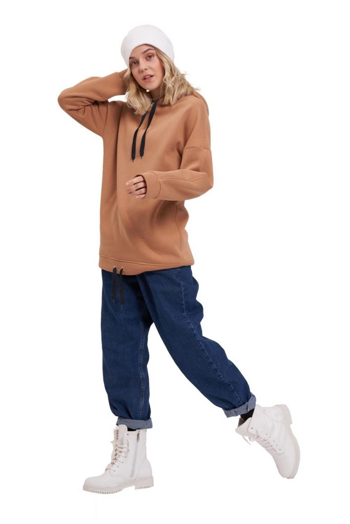 Mizalle Kuş Gözü Bağıcıklı Sweatshirt (Taba) - Genç Kadın Giyim