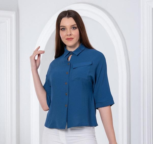 mavi kısa kollu gömlek bluz