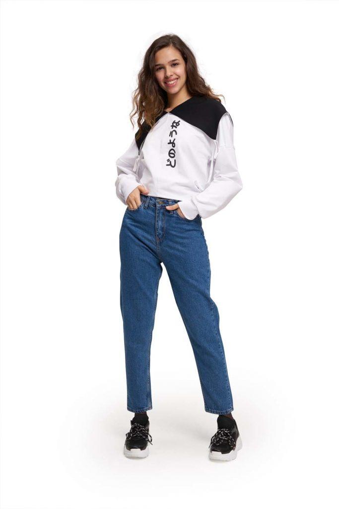 Mizalle Mom Denim Pantolon (Mavi) - Genç Kadın Giyim