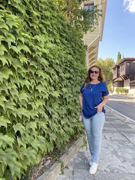 Cep Taş Detaylı Streç Mavi Pantolon