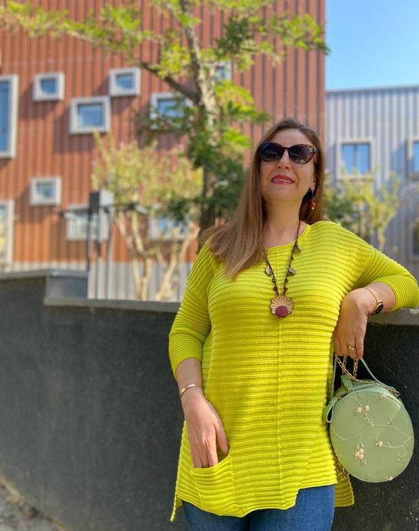 lime yeşili salaş bluz