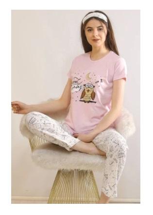 baykuş desenli kadın pijama takımı pembe